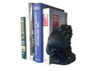 Set of 2- Seaworn Blue Cast Iron Conch Shell Book Ends 9